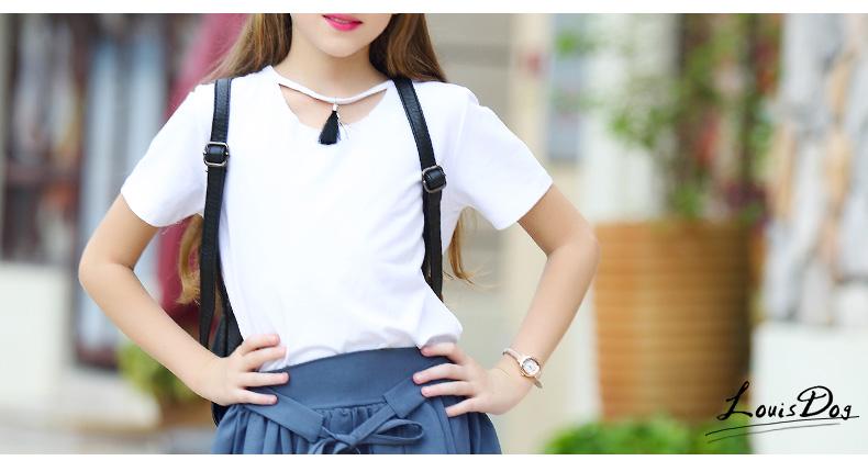 Pure Black / White Versatile Girl T-shirt Cotton T Shirt Kids Kd 8 9 Soft Simple Girls Tshirt Fashion Korean Children Clothing