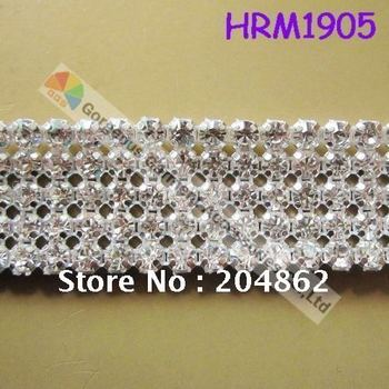 Free shipping,10yards/lot, 5 rows SS19 crystal rhinestone mesh banding for wedding dress & cakes