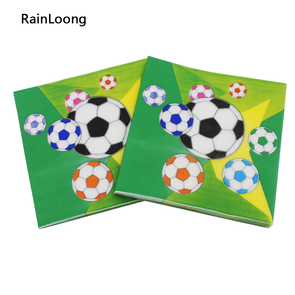 [RainLoong] Printed Football Paper Napkin Party Tissue Dinner Napkins Supply Party Decoration 33cm*33cm 20pcs/pack/lot(China (Mainland))