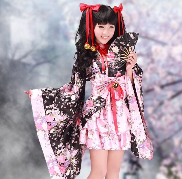 livraison gratuite fleurs de cerisier femmes traditionnel japonais kimono lolita robe cosplay. Black Bedroom Furniture Sets. Home Design Ideas