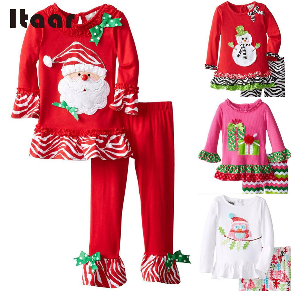 Aicebaby New Year Children Winter Baby Girls' Toddler Tracksuit Pyjamas Set Christmas Outfit Floral Comfortable Top Blouse Pants(China (Mainland))