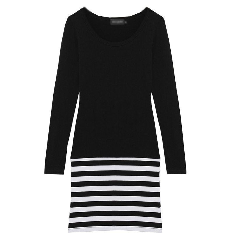 Buy Women Stripe Stitching Long Sleeve Casual Dress Slim OL Mini Sexy Package Hip Korean Style White Black Dress Lady Clothing(China (Mainland))