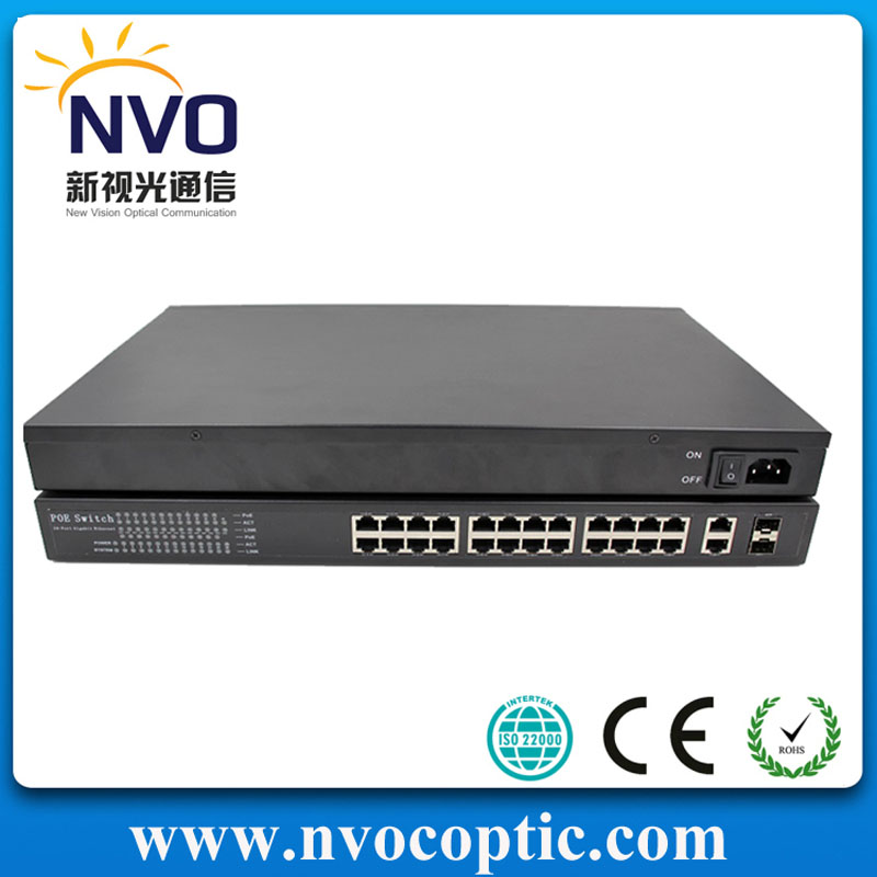 24 Port 100Mbps PoE Switch with 2 gigabit Combo (SFP) Slots(China (Mainland))