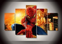 2016 New High Quality Spiderman Room Decoration Canvas Of 5 Pieces Wall Decals Kids Frameless Painting By Numbers Unframed(China (Mainland))