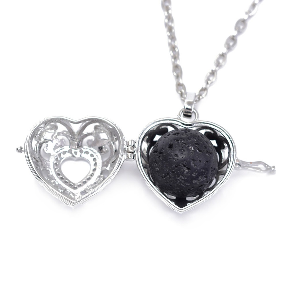 10pcs 16mm Black Lava beads Natural Stone Essential Oil Perfume Body Diffuser Locket Necklace With handmade Jewelry making<br><br>Aliexpress