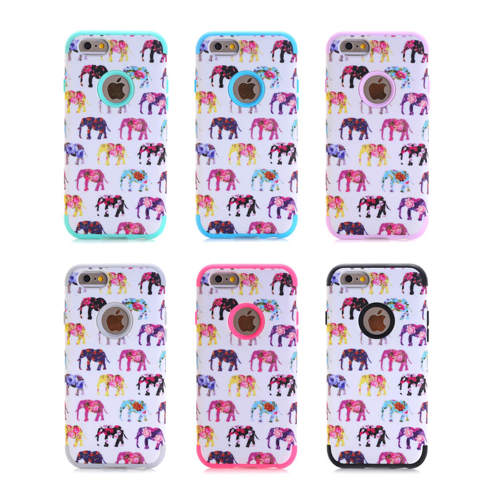 For Apple iPhone 6 6S Case Elephant Design 3 in 1 High Impact Heavy Duty Hard Rugged Rubber Case Cover(China (Mainland))