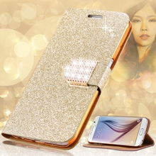 Мода блеск шику алмаз флип кожаный чехол для Samsung Galaxy S6 G9200 / S6 край G9250 / S6 + плюс слот для карты бумажник