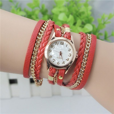 Crazy Hot Buy! Korean Fashion New Dress Retro Ladies Bracelet Watches Woman Casual Knit Long Leather Quartz Watch(China (Mainland))