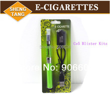 Wholesale 10 pieces/lot  Ce5 Ego-T Electronic Cigarette E-Cigarettes Blister Packing Kits Green   Battery  Various Colors