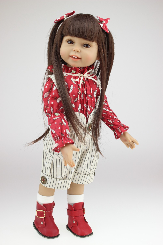 "Free fhipping !safe full vinyl 18"" girl dolls, look truth ..."