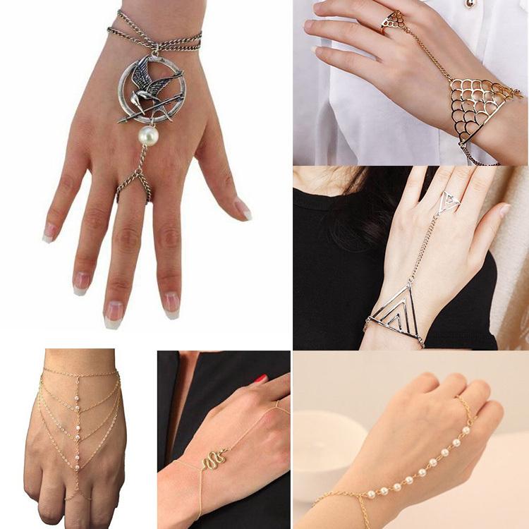 Jogos Vorazes Multi Chain Punk Harness Gold&silver Pearl Slave Hunger Games Bracelet Finger Bangles For Women Juegos Del Hambre(China (Mainland))