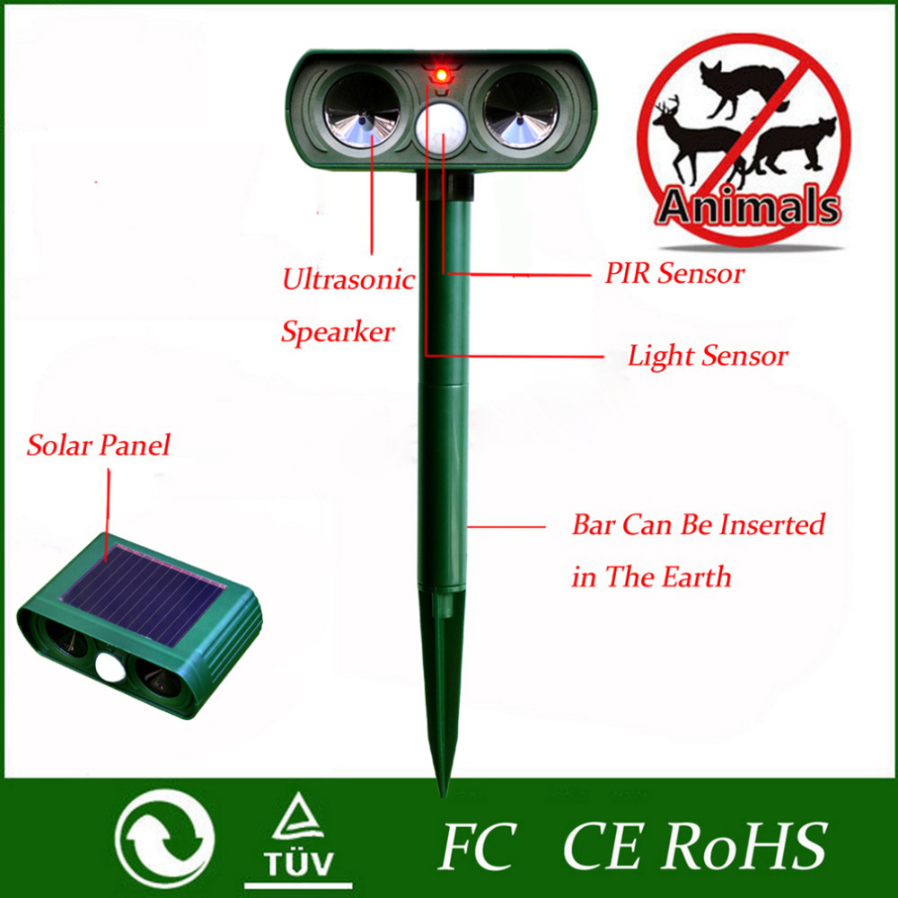 2017 Home Use Green Garden Cat Dog Pest Repeller Solar Power Ultra Sonic Scarer Frighten Animal Repellent Outdoor Use(China (Mainland))