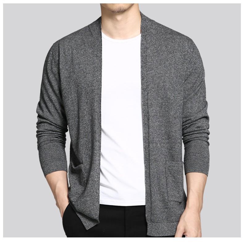Muls Supper good quality cardigan men 100% wool autumn winter male caridgan sweter men knitwear coat Gray M L XL 2XL 3XL MS3046