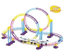 China High Speed Rail CRH Train Roller Coaster Electric Rail Car Building Set With Lights Children Kids Toys(China (Mainland))