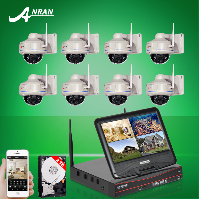 Plug And Play 8CH NVR 10 Inch LCD Wireless Security System 2TB HDD 720P HD Vandalproof Dome IP CCTV Camera Surveillance Kit(China (Mainland))