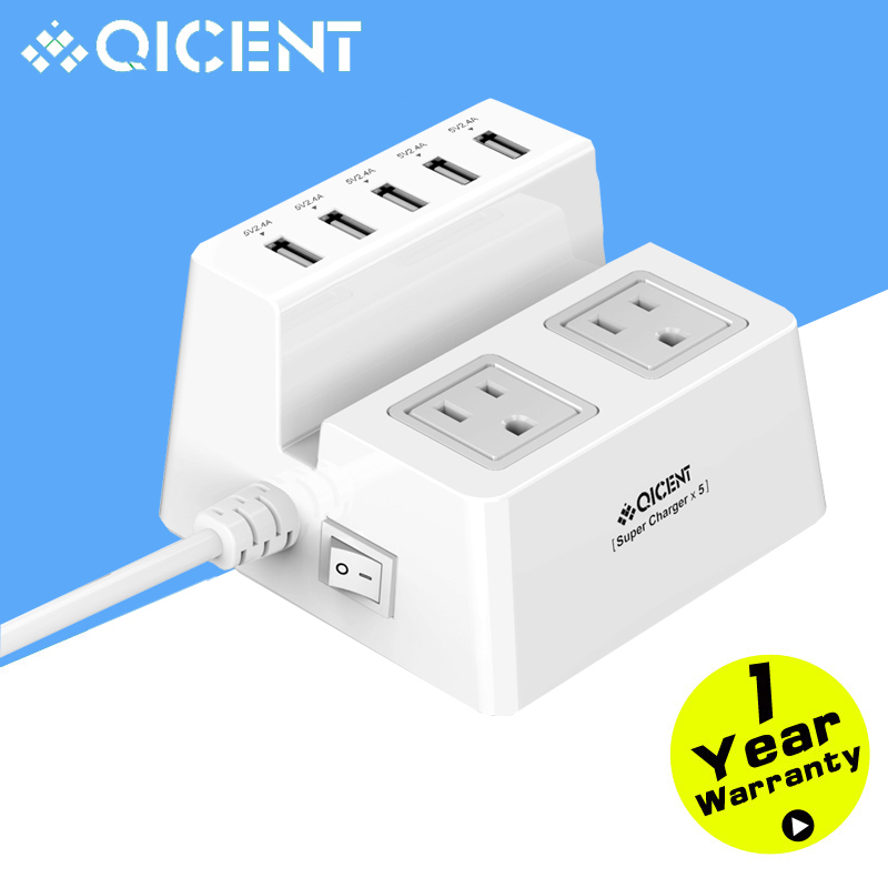 QICENT Dual Outlet Home/Office Wall Socket 4.9 ft. Power Cord 2500 Joules 5-Port USB Charger w/ Standing Holder for iPhone/ S6(China (Mainland))