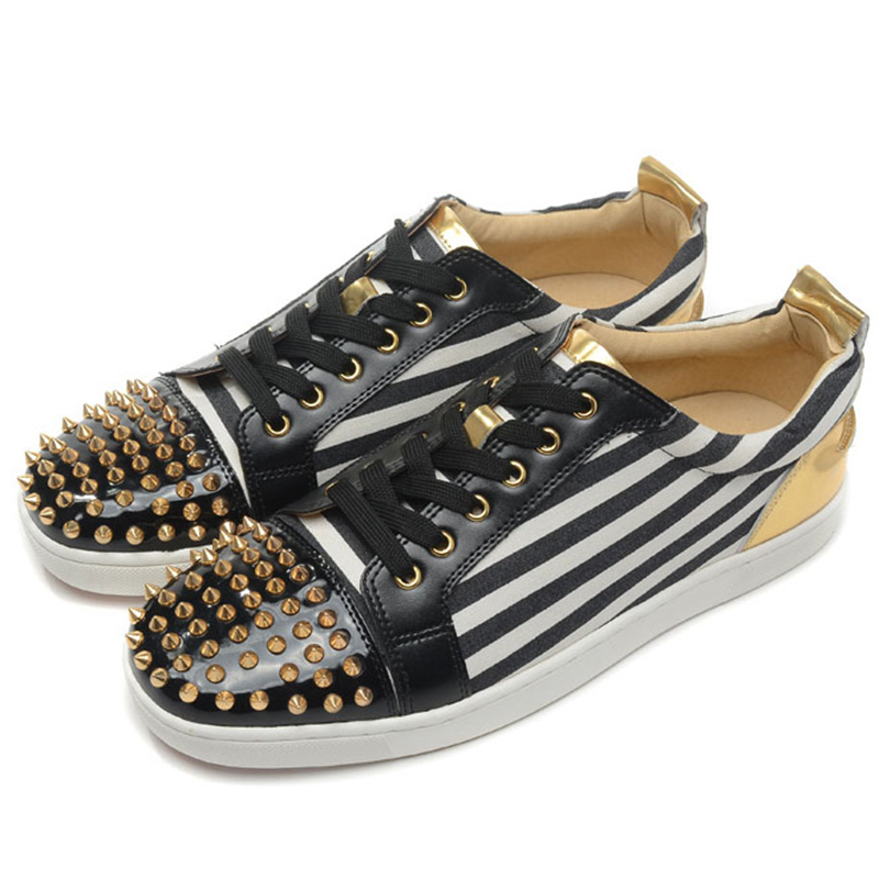 2015 New Fashion Men Shoes Casual Shoes Flat Red Bottom Shoes For Men With Spikes Brand Menu0026#39;s ...