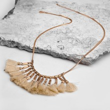 Buy 2016 Women Bohemia Beige Thread Tassel Pendant Long Chain Necklace Vintage Gold Chain Collar Necklace Retro Jewelry Wholesale for $5.84 in AliExpress store