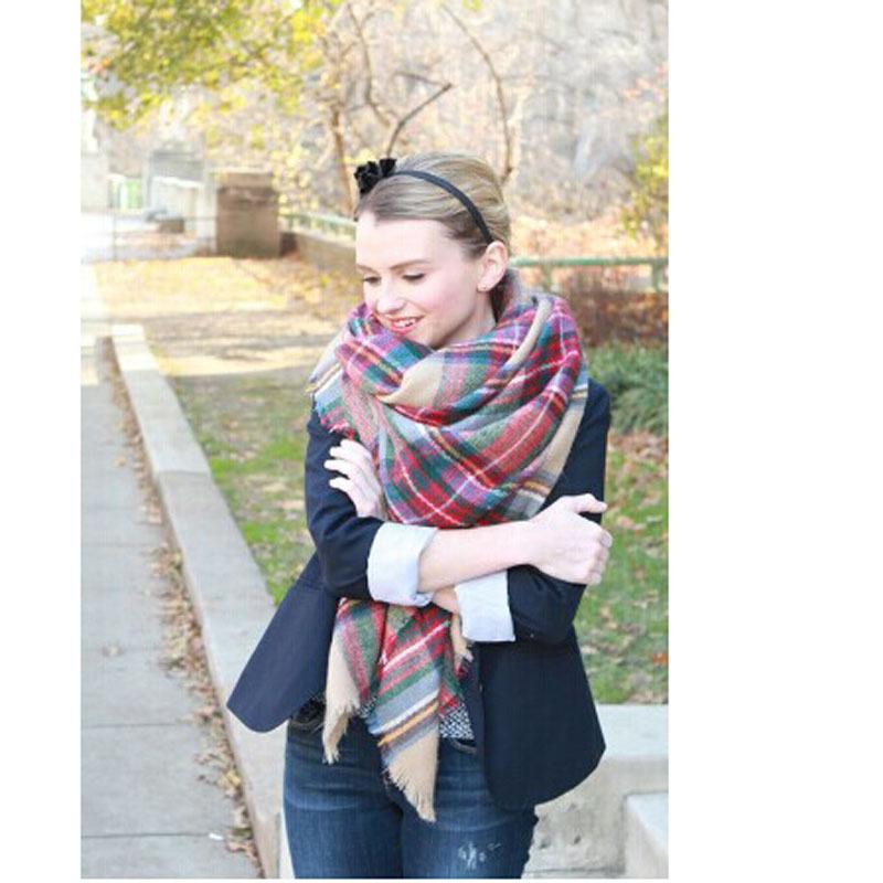 Za winter oversize plaid new designer blanket unisex acrylic wrap cashmere scarf shawl pashmina for spring fall 140x140CM(China (Mainland))