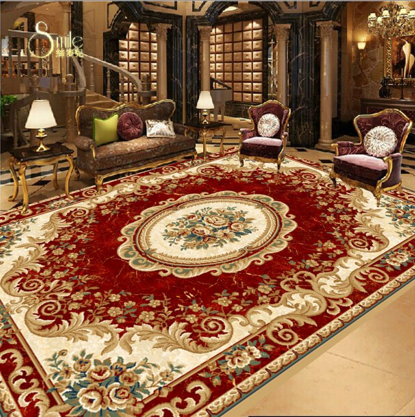 3d floor tiles custom wallpaper Pressing the red carpet design floor European-style ceiling painting self -adhesive wallpaper(China (Mainland))