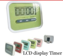 DHL free. 100pcs Digital Kitchen Count Down/ Up LCD display Timer /clock Alarm with magnet stand clip. fashionable kitchen alarm(China (Mainland))