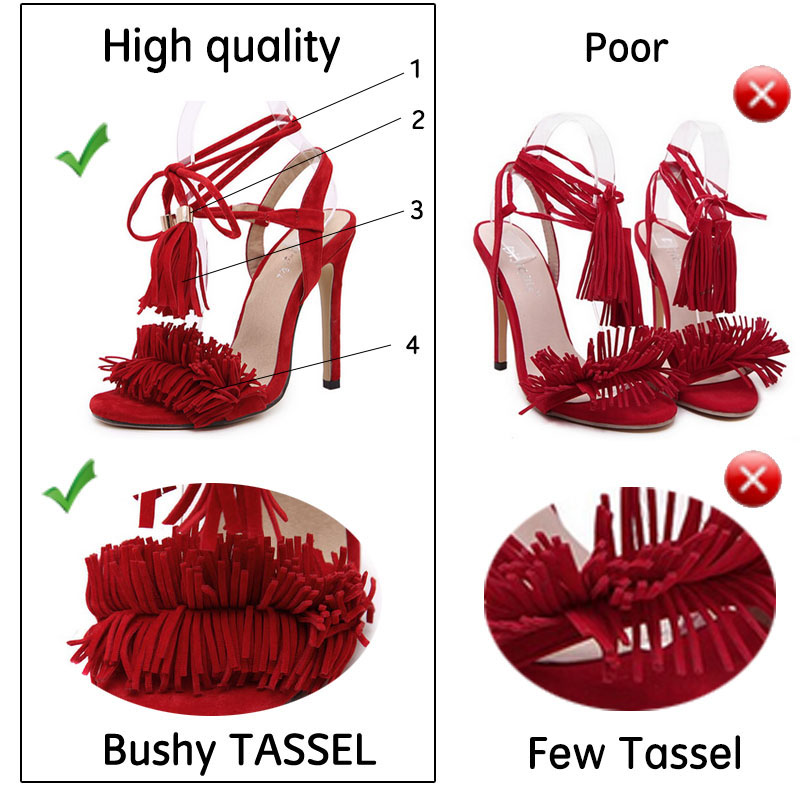 Women Summer Shoes Gladiator High Heel Sandals 2016 Fashion Brand Tassels Sandlias Blue Red Sexy Ladies Shoes size 35-40 Z1216