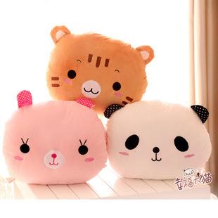 J2 High Quality Lovely panda cat rabbit Pillow Soft Hand Warmer Warm Stuffed Plush animal Cushion 3 color plush toys(China (Mainland))