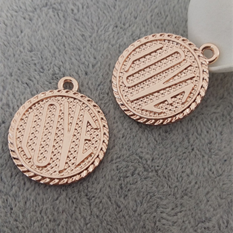 30pcs 2016 The new product Peach heart lettering Geometric carved accessories diy alloy charm Rose gold pendant in jewlery(China (Mainland))