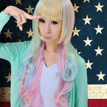 Harajuku lolita ice cream gradient long curly hair cosplay costume wig for female,free shipping(China (Mainland))