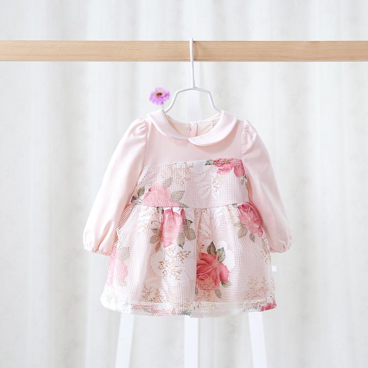 Здесь можно купить  Free shipping 3 colors 2015 New baby girls floral princess dress children autumn dress cotton long sleeve 150094  Детские товары