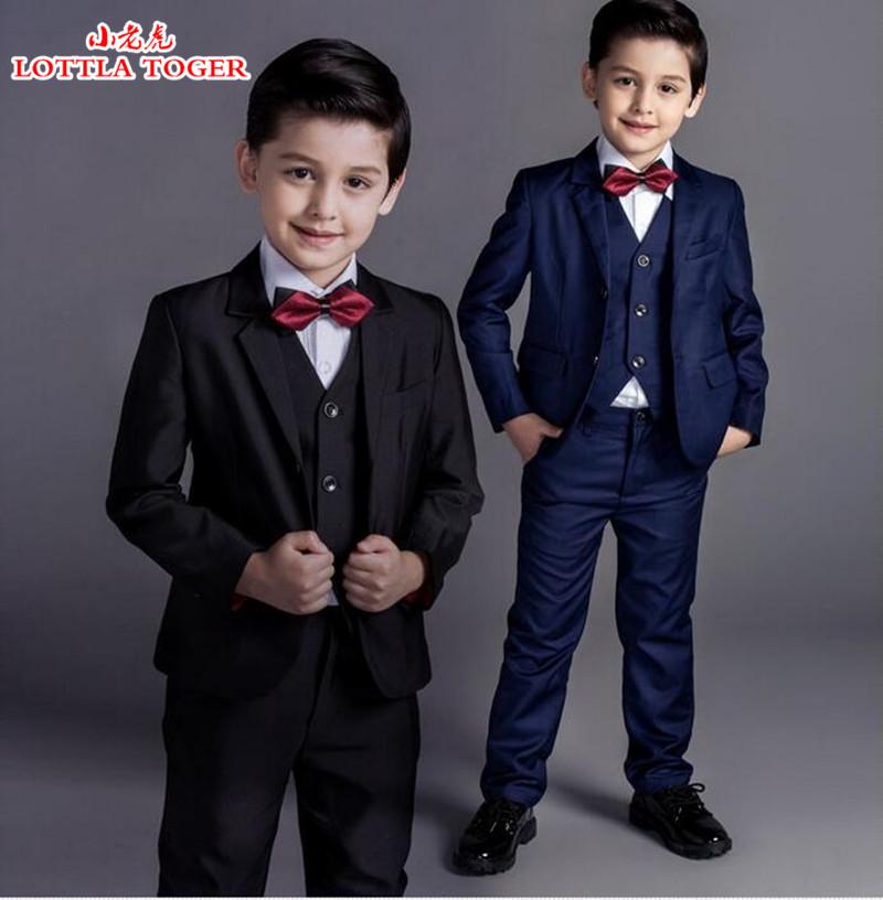 5pcs new arrival fashion baby boys kids blazers boy suit for weddings prom formal black/navy blue dress wedding boy suits(China (Mainland))