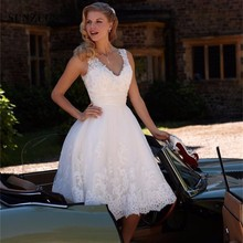 Buy Retro White Lace Short Wedding Dress 2017 Sexy Beach Knee Length Wedding Dresses Bride Dress Custom Vestido De Noiva Vintage for $110.70 in AliExpress store