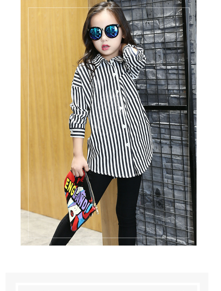 Girls New Long Section Korean Children Autumn Hot Polo Cartoon Printed Cotton Black White Striped Shirts Kids Clothing