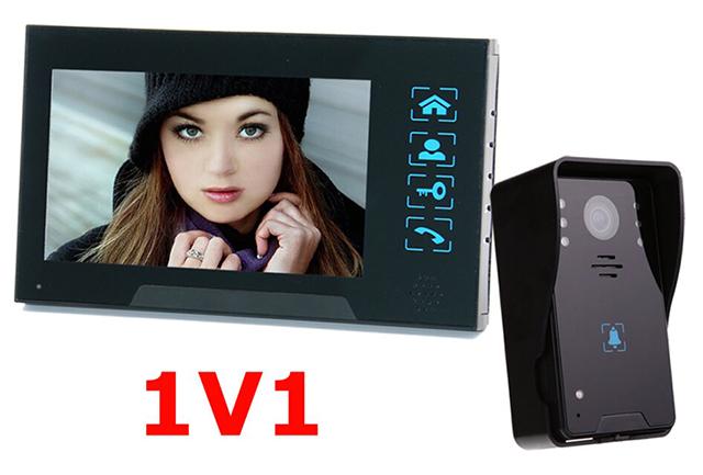 7 color TFT LCD video door intercom Water oxidation-proof wired video door phone with Handfree,Electric lock-control function