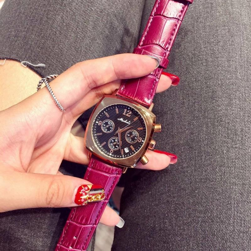 Женская мода Календарь Часы женские Роскошные Наручные Часы Из Натуральной Кожи Платье Часы Площадь смотреть Браслет Часы Montre Femme