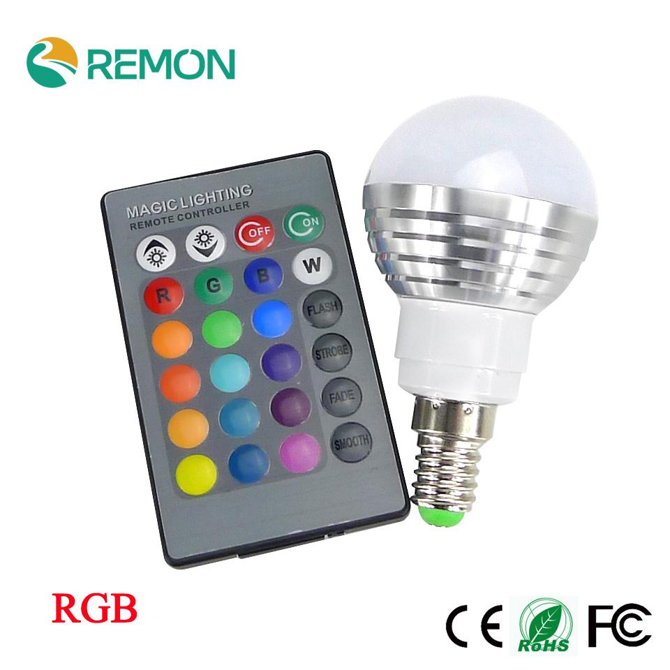 RGB LED Bulb E27 E14 5W LED Lamp Light Led Spotlight Spot light Bulb 16 Color Change Dimmable +24Keys Remote Controller(China (Mainland))