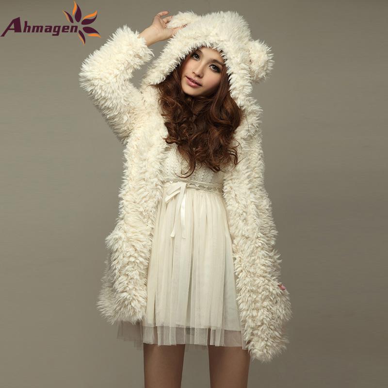 2016 Autumn Winter Cute Women Hoodie Coat Jacket Teddy Bear Rabbit Ears Thick Soft Fleece Fur Sweatshirt Hooded Long Outerwear(China (Mainland))