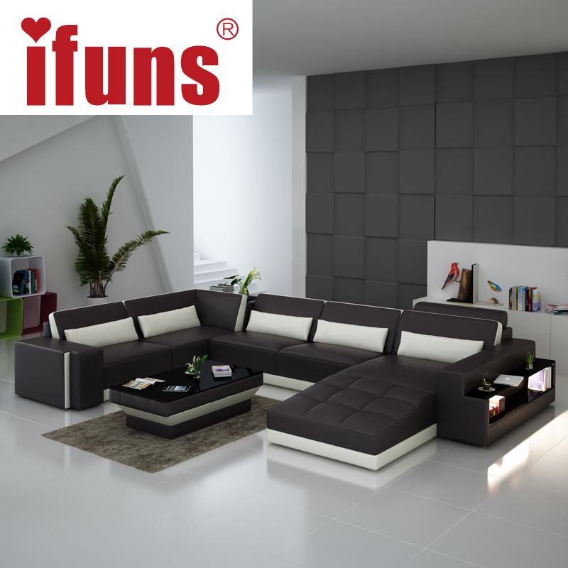 IFUNS Luxury Sofa Sets U Shaped Top Grain Italian Real Leather Sofa Set Livin