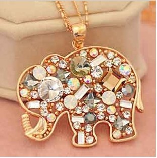 Satr Jewelry Korean Fashion Jewelry For Women 2013 New Crystal Lucky Lovely Elephant Necklace Pednat Necklase Long Chain(China (Mainland))