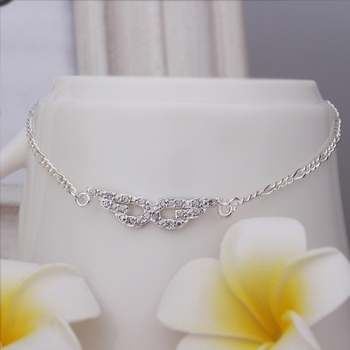 Free Shipping Wholesale 925 Sterling Silver Anklets 925 Silver Fashion Jewelry,Eye-shaped insets Anklets SMTA004