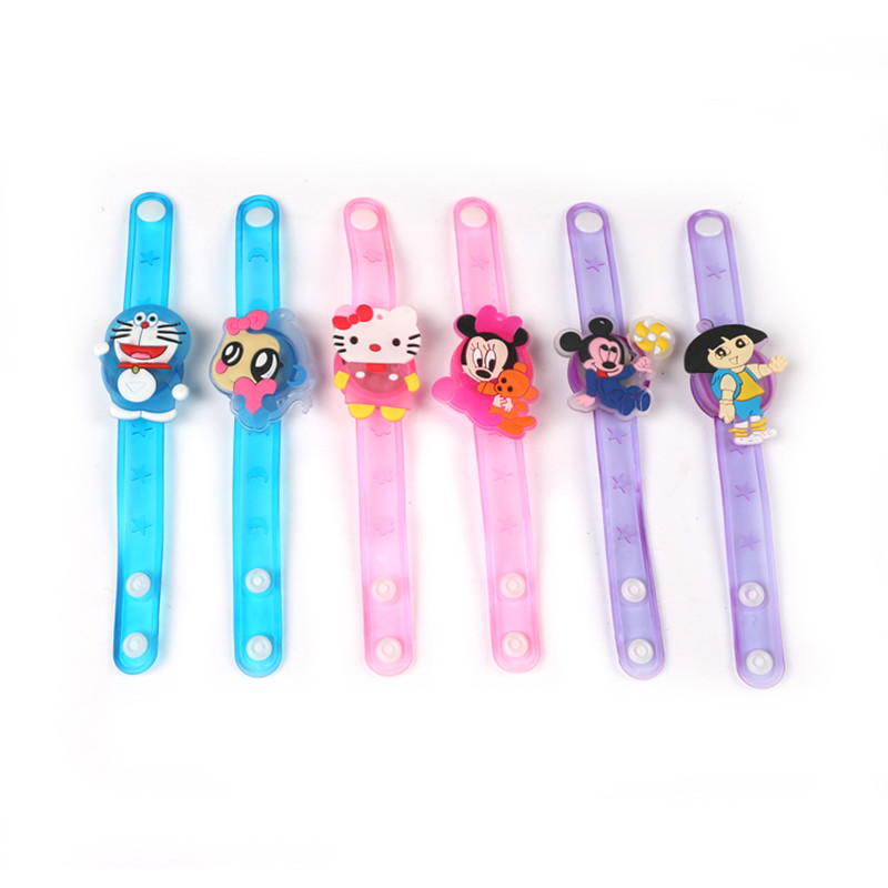 50pcs/lot New cartoon led bracelet wristband kids cheap toys night party light up favor decoration toy gift(China (Mainland))