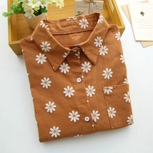 Floral Women Blouses Ladies Cotton Office Shirts Vetement Femme Long Sleeve Embroidery Tops Turn-down Collar Blusas Femininas