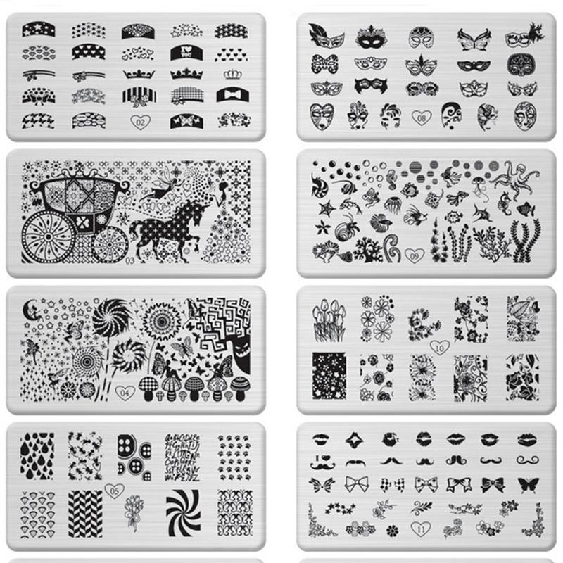 10pcs/set New Hot Nail Art Stamping Plates Carimbo De Unha Nail Stamper Plaque Stamping Pour Ongle Nail Art Tools Placas Konad(China (Mainland))