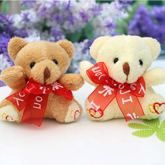 H-7cm silk tie-bow teddy Bear,plush toys for cartoon bouquet doll Flower Packing 30pcs/lot(China (Mainland))