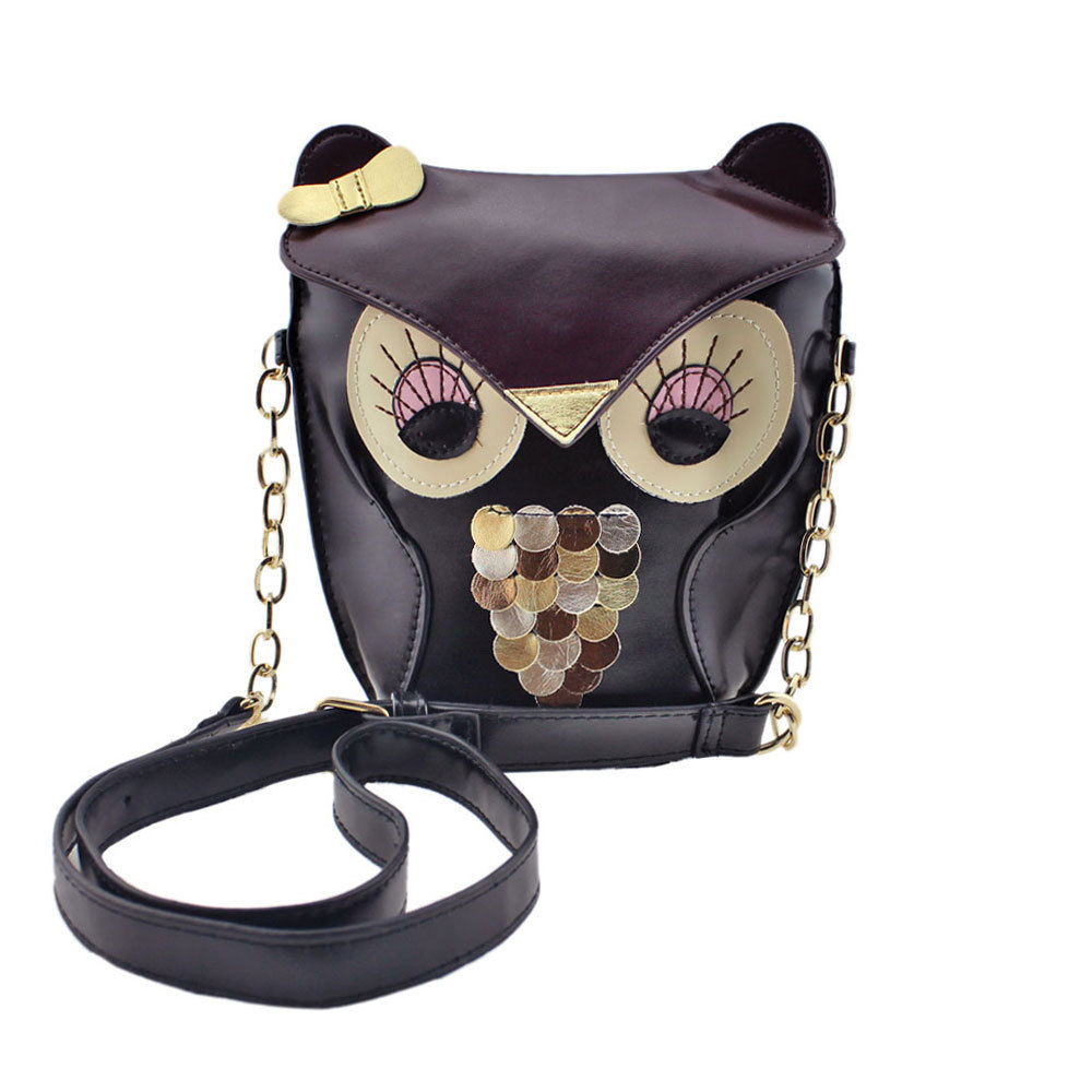 2015 New Brand For Women Girl Small PU Leather Owl Pattern Satchel Messenger Shoulder Bag Cross Body School bag Gift For Girls(China (Mainland))