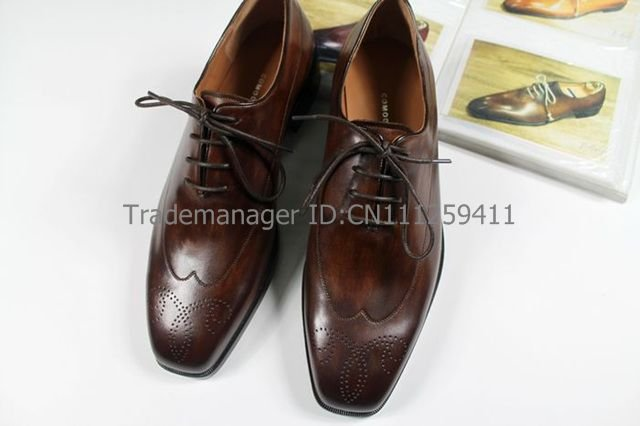 Free shipping custom adhesive mens dress oxford color coffee shoe No.OX146 square toe<br><br>Aliexpress