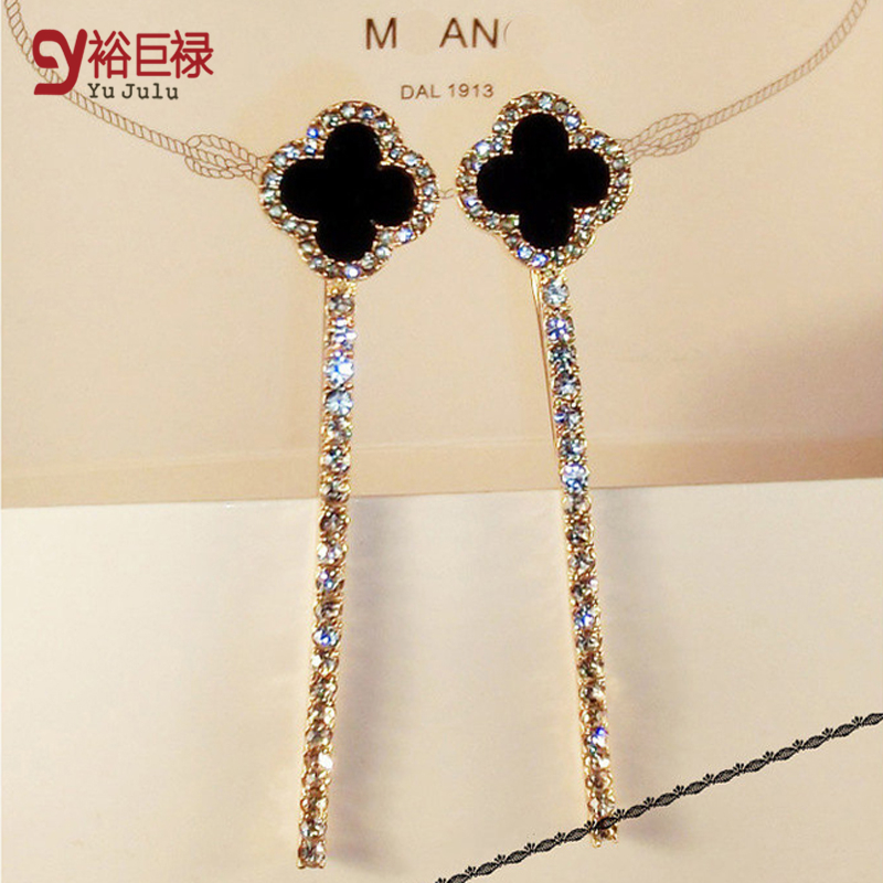 2pcs/lot Fashion Crystal Clover Long Wedding Hair Accessories Bridal Head Jewelry Hairpins forWomen Bride Clips Tiaras Wholesale(China (Mainland))