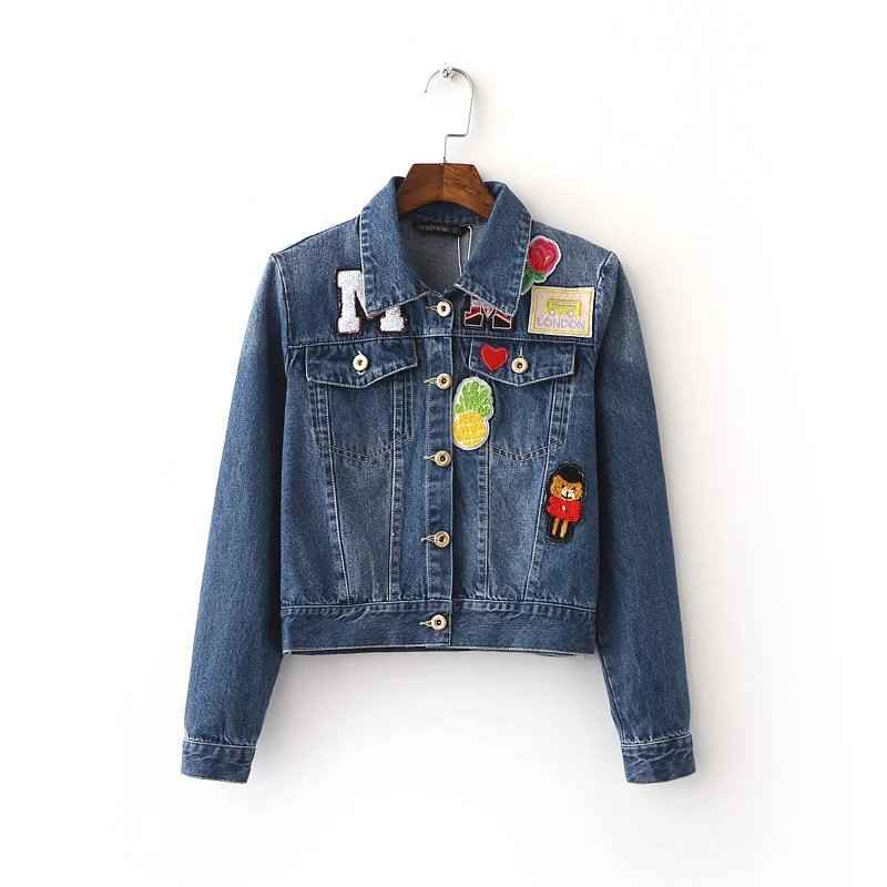 European Station Spring New Denim Jacket Single Breasted Fashion Embroidered Jeans Jacket Women ...