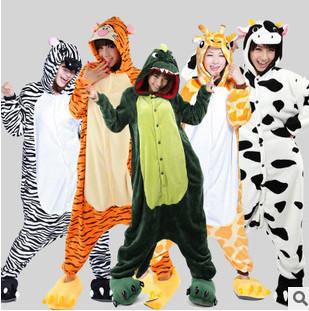 Hot Unisex Adult Flannel Pajamas Adults Cosplay Cartoon Cute Animal Onesies Pyjama Sleepwear Suit /Stitch/Unicorn/Tiger WJ2364Одежда и ак�е��уары<br><br><br>Aliexpress