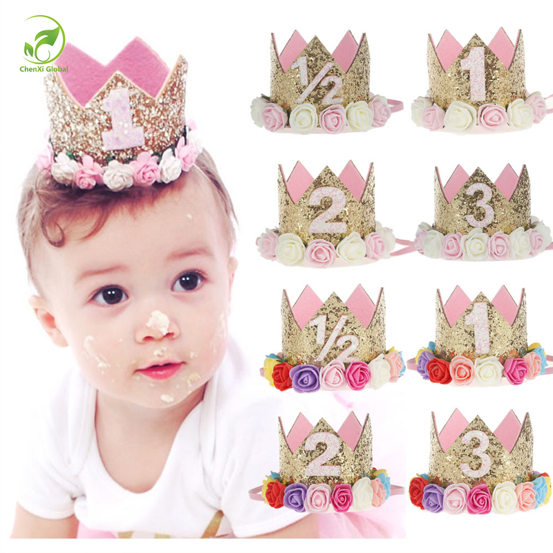 Baby Girl First Birthday Party Cap Decorations Hairband Princess Queen Crown Lace Hair Band Elastic Head Wear Hat Gifts For Kids(China (Mainland))